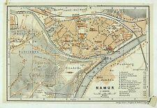 NAMUR, alter farbiger Stadtplan, gedruckt ca.1900, (Namen, Nameur)