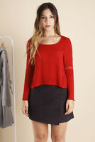 RED BELL SLEEVE TOP WITH LACE DETAILING.