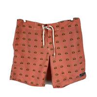 AMBSN California Mens Board Shorts Size 32 Swim Shorts Orange Burgers Print