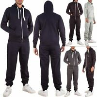 New Mens Hooded Top Bottom Zip Up Joggers Pants Gym Sportswear Tracksuit Set