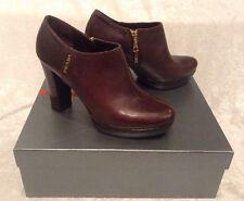 NEW PRADA Brown Calzature Donna Vitello Ankle Platform Heel Boots $598  40 US 10