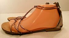 Montego Bay Club Gladiator Zip Flat Sandals Shoes Purple Leather Womens 8.5