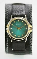 Relic Watch Mens Stainless Silver Gold Water Resist Black Leather Green Quartz