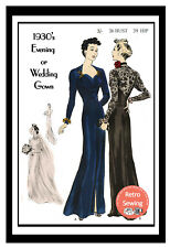 1930's Vogue Evening or Bridal Gown Sewing Pattern Bust 36 - Copy