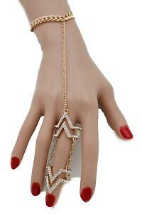 Women Gold Bracelet Fashion Jewelry Metal Hand Chain Slave Ring Bling Fancy Look