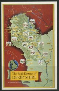 British Railways Map Poster Peak District Derbyshire Postcard Dalkeith unposted