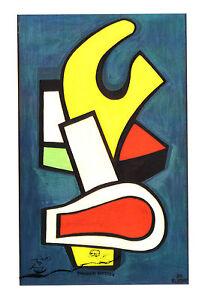 Kunst- Doppelkarte  - Fernand Lèger: Komposition auf blauem Grund