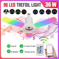 E27 RGB bluetooth Speeker LED Garage Light Deformable Bulb Ceiling Fixture Lamp