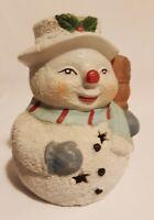 Vtg Snowman Candleholder Tealight Bisque Nite Light
