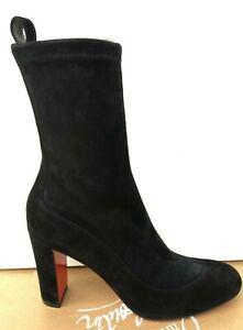 CHRISTIAN LOUBOUTIN Gena Bootie 85 Black Veau Velours Size 37