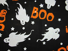 HALLOWEEN ORANGE BOO LETTERS GLITTER GHOSTS ON BLACK 100% Cotton Fabric OOP FQ