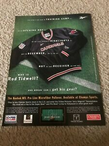Vintage 1996 ROD TIDWELL CARDINALS REEBOK PULLOVER Poster Print Ad JERRY MAGUIRE
