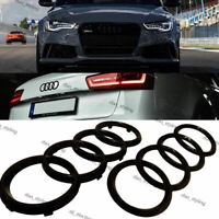 Black Gloss Set Front Rear Grille Badge Rings Logo Emblem Audi A5 A6 A7 285x99mm