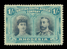 British SOUTH AFRICA - RHODESIA 1910 Double Heads 1sh blk & ultra SG 153 mint MH