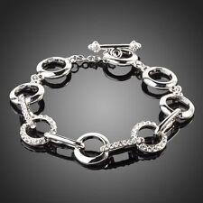 White Gold Plated Austria Crystal Rhinestones Round Link Chain Fashion Bracelet