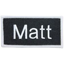 """""""Matt"""" Name Tag Uniform Identification Badge Embroidered Iron On Applique Patch"""