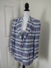 STAFFORD Mens 40 Red White Blue Plaid Lined COTTON MADRAS Sport Coat Blazer NWT