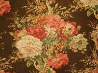 Waverly Ballard Bouquet Sepia Linen Floral Drapery Upholstery Print Fabric