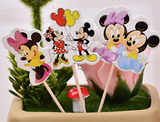 24 PCS MICKY AND MINNIE MOUSE CUPCAKE CAKE TOPPERS KIDS PARTY SUPPLIES BIRTHDAY