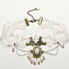 White Lace Faux Pearl Bronze Pendant Choker Necklace Wedding Gothic Cosplay