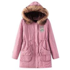 Winter Women Fur Collar Hooded Jacket Warm Long Slim Coat Lady Parka Outwear NEW
