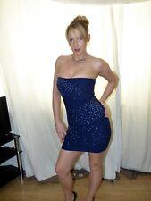 Mini Vestido Sin Tirantes Bandeau fabuloso Topshop Con Cuentas Fiesta UK 8 EU 36 Azul