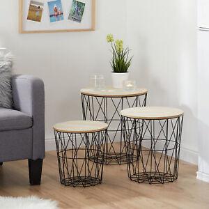 Beistelltisch 3er Set Korb Tisch Couchtisch Kaffeetisch Sofatisch Holz Metall