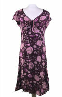 MONSOON Dress Burgundy Floral Print Summer Bow Front Pink Women's 12