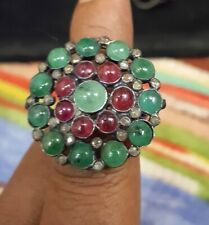 Real Ruby And Emerald Gemstone Pave Diamond Casual Ring 925 Sterling Silver