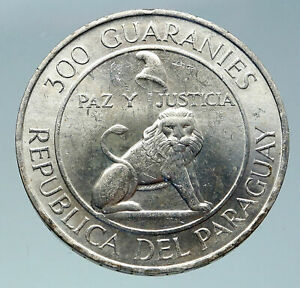 1968 PARAGUAY President Stroessner Genuine OLD Silver 300 Guaranies Coin i86601