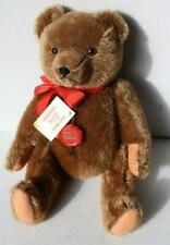 Hermann Teddy Bear Brown Mohair Red Plastic Gold Hermann Tag Red Tie Jointed-Vtg