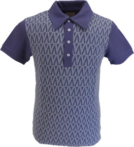 Soul Mens Denim Blue Diamond Retro Knitted Polo Shirts