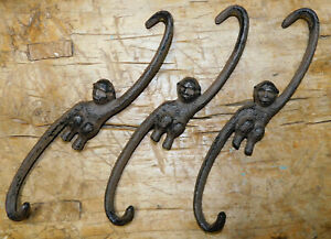 3 HUGE Cast Iron Antique Style MONKEY HOOKS  ' S ' Plant Hook Links  9 1/2 inch