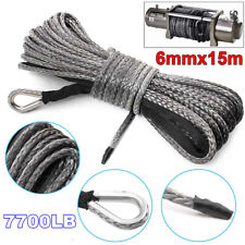 1/4'' x 50' 7700LBs High Strength Synthetic Fiber Winch Rope Tow Recovery Cable