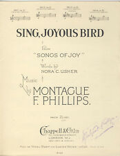 Sing Joyous Bird No. 3 In D Piano & Voice Sheet Music 1914 Montague Phillips