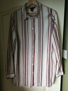 Shirt New Look 14 Ladies Pink White Striped Long Sleeve cotton feel viscose