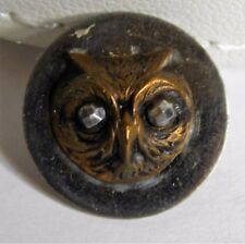 Vtg Owl Bird Head Metal Brass Relief 2 Piece Steel Cut Eyes Picture Button 9/16""