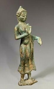 Rare Thai Thailand Bronze Standing Buddha Mon-Dvaravati period ca. 8th Century.