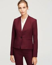 NWT ANN TAYLOR Textured Collarless 1-Button Suit Jacket 0 Chianti Burgundy $198