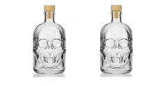 TESCHIO 2x 7 pollici Bottiglia Di Vetro Whisky Decanter Storage Novità Scheletro Di Halloween