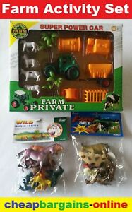 TOY ANIMAL FARM SET PLAY ANIMALS TRACTOR TRAILER ACTIVITY SET HORSE COW SHEEP