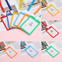 Plastic ID Badge Card Holder Wallet Neck Strap Travel Work Pouch/Double-sided