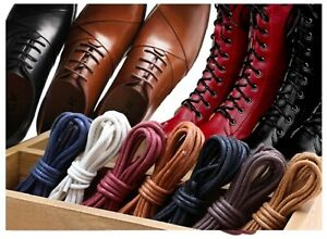 Waxed Shoelace Thin Cotton Round Shoelaces Waterproof Shoe Laces 90cm
