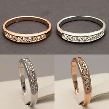 NEW Rose White Gold Plated Eternity Engagement Wedding Ring Band (Sizes H to U)