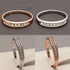 NEW Rose White Gold Plated Eternity Engagement Wedding Ring Band (Sizes K to U)