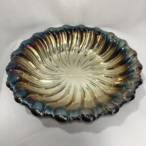 """12"""" Oneida Silverplated Scalloped Center Swirl Serving Bowl Vtg"""