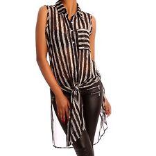 Gestreifte Damenblusen, - tops & -shirts mit klassischem Kragen aus Polyester