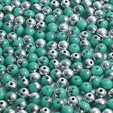 60pcs Opaque Turquoise & Silver Czech Glass Round Beads, 4mm - GB468