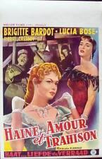 CONCERT OF INTRIGUE TRADITA Belgian movie poster BRIGITTE BARDOT 1954 NM