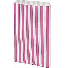 """1000 x Pink & White 5 x 7"""" Candy Striped Pick And Mix Wedding Paper Bags"""